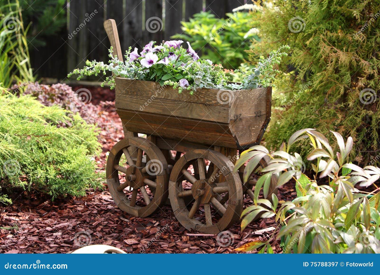 Garden - Old flower cart stock image. Image of flowerpot - 75788397