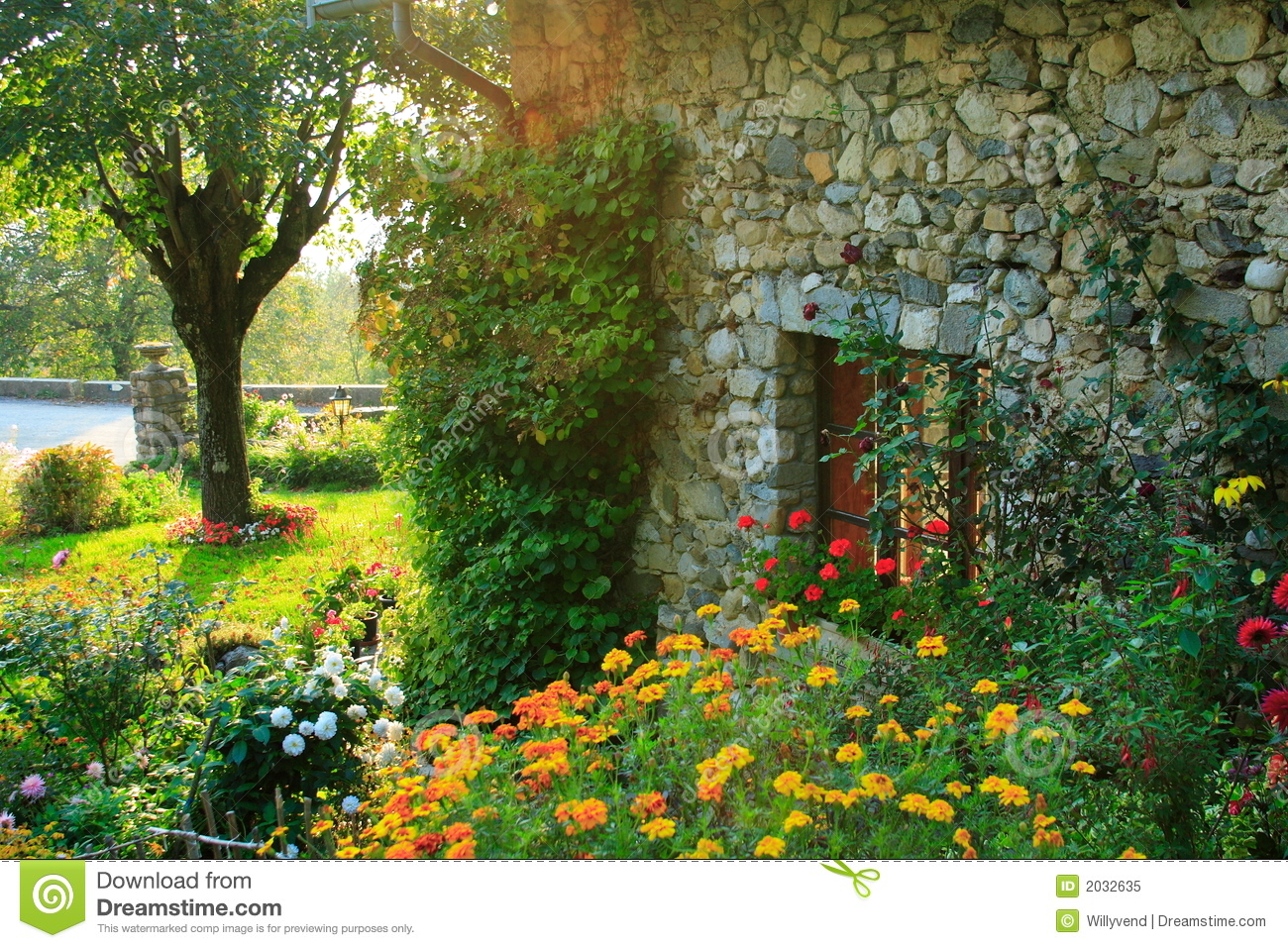 Garden and old house stock image image of flower grass for Classic house with flower garden