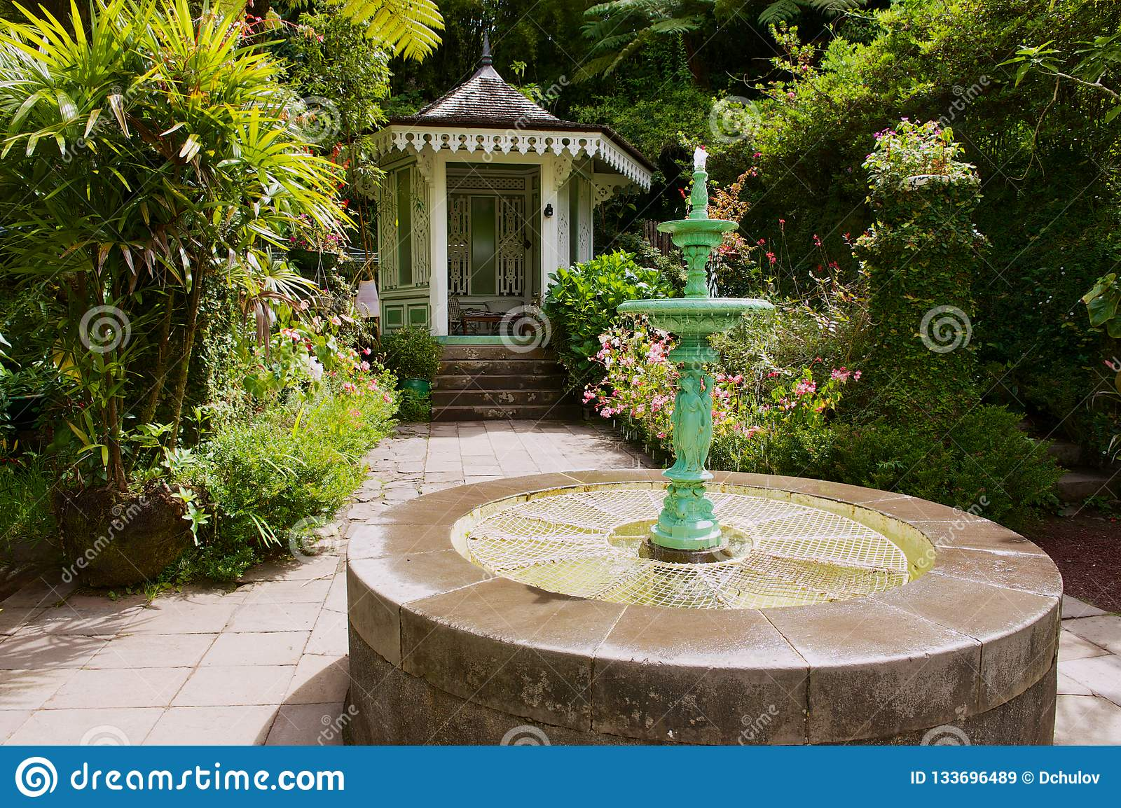Garden in the oldest colonial estate Maison Folio in Hell-Bourg, Reunion island.