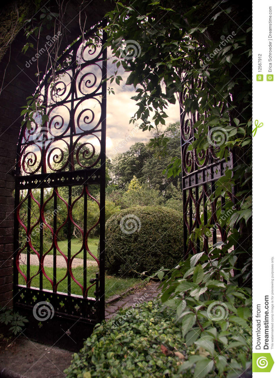 garden with an open gate stock photo  image of entrance
