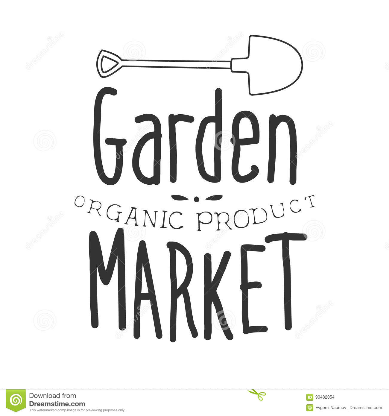 Garden Organic Product Market Black And White Promo Sign Design Template With Calligraphic Text