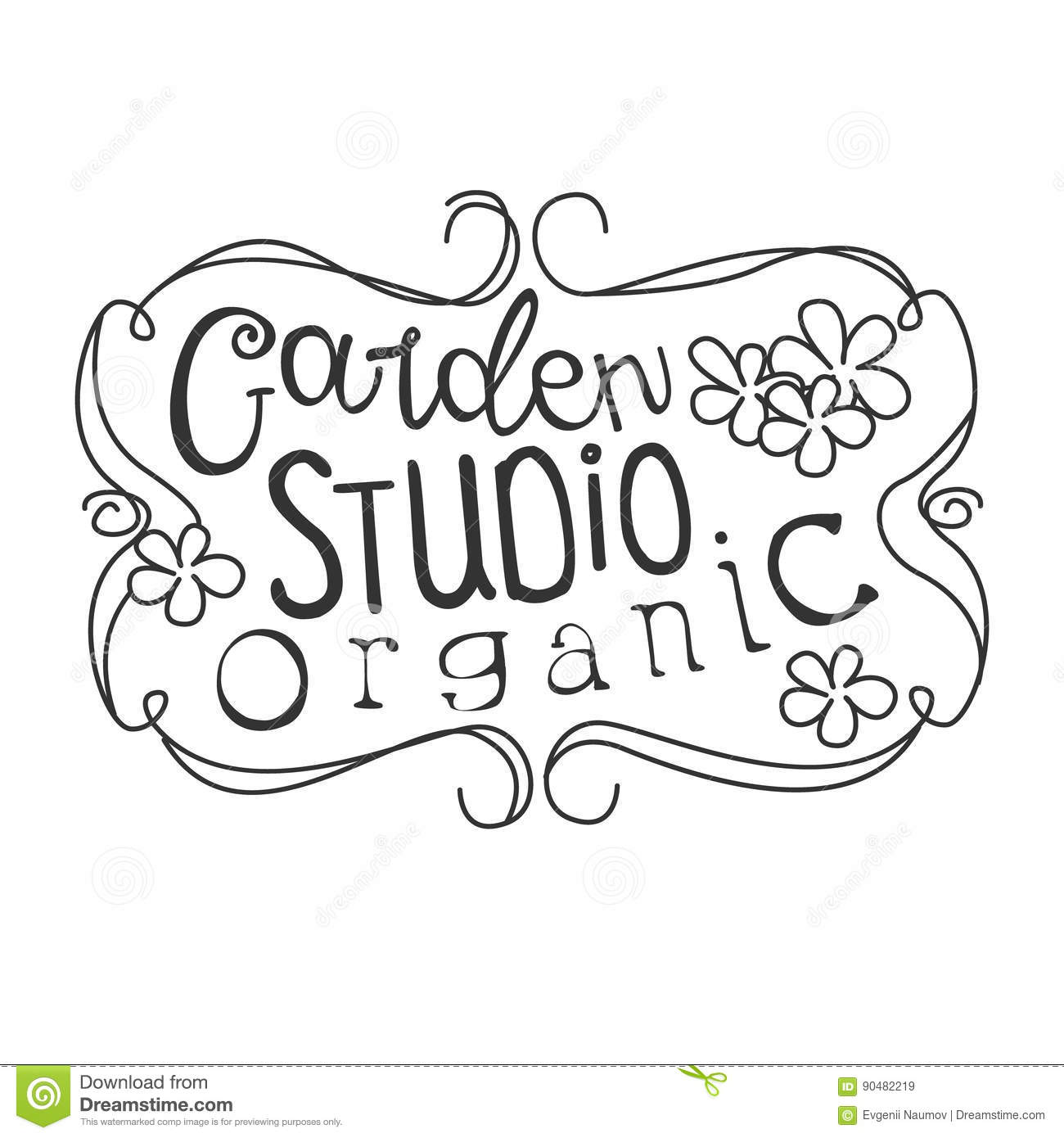 Garden Organic Studio Black And White Promo Sign Design Template With Calligraphic Text With Vintage Frame