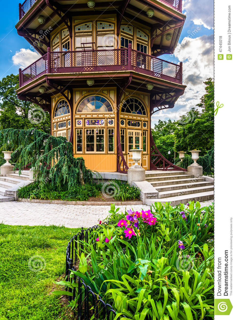 Garden and pagoda at Patterson Park in Baltimore, Maryland.