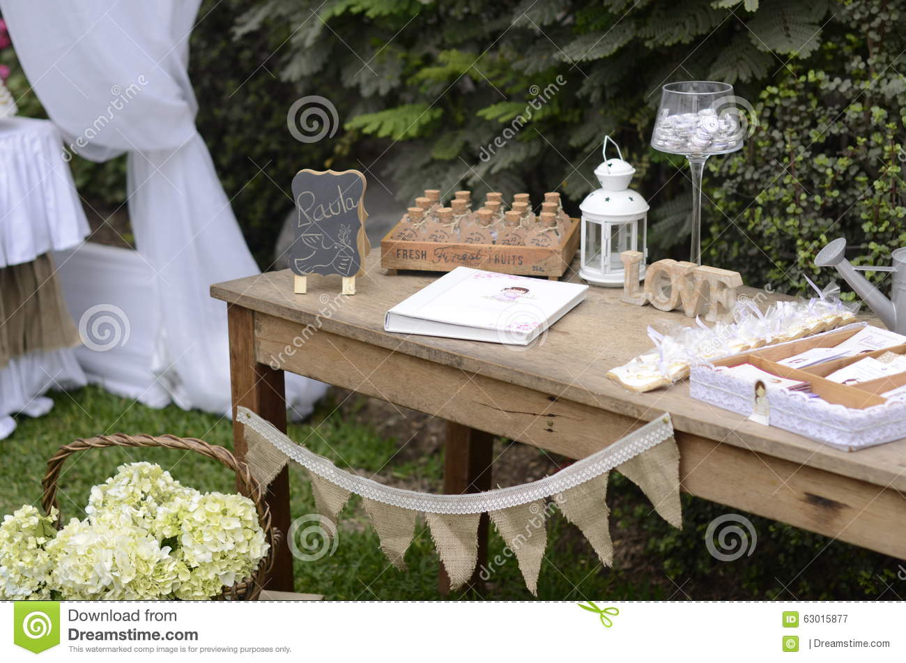 Garden Party First Communion Stock Image Image Of First Table