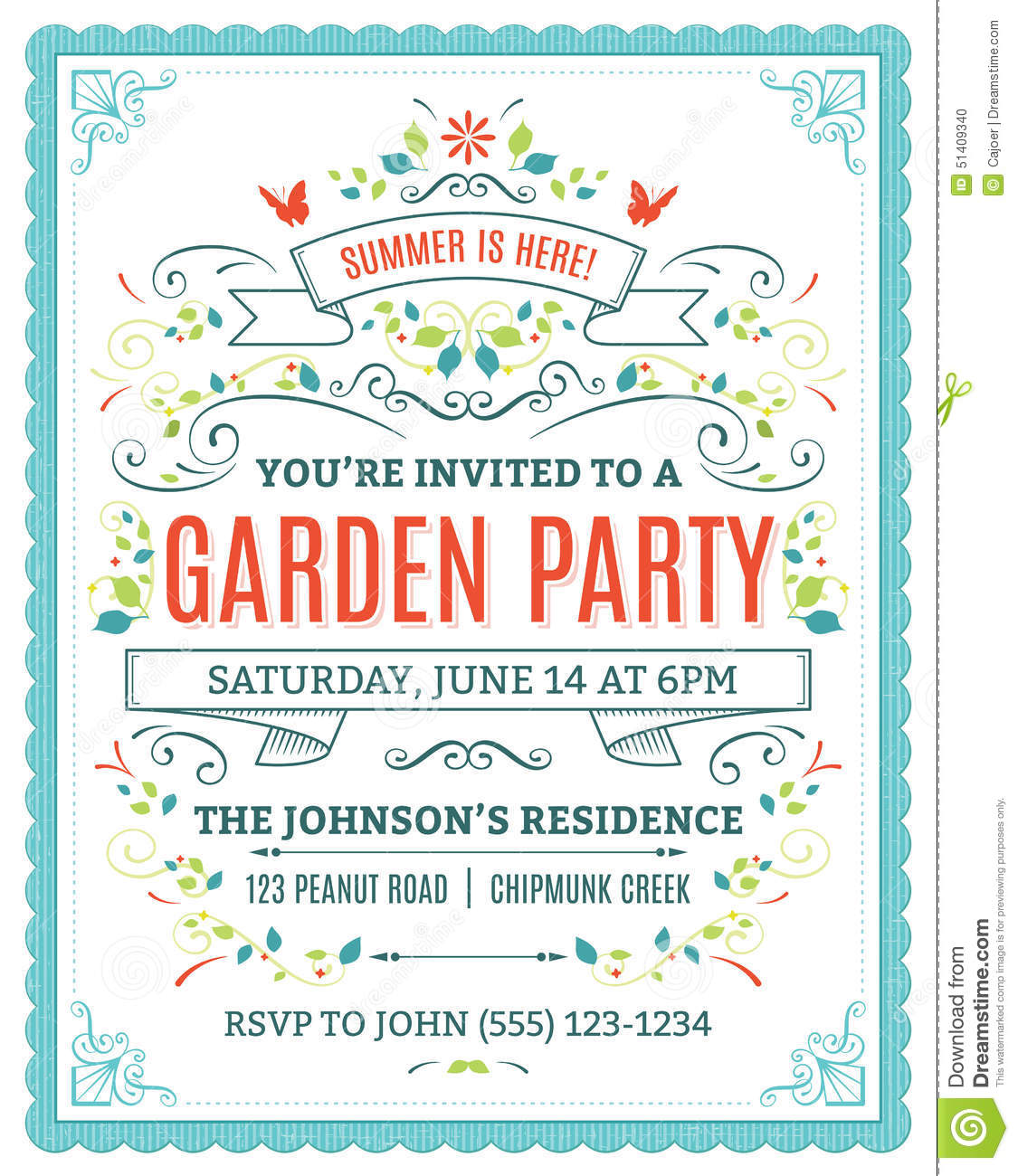 Garden Party Invitation Stock Vector - Image: 51409340