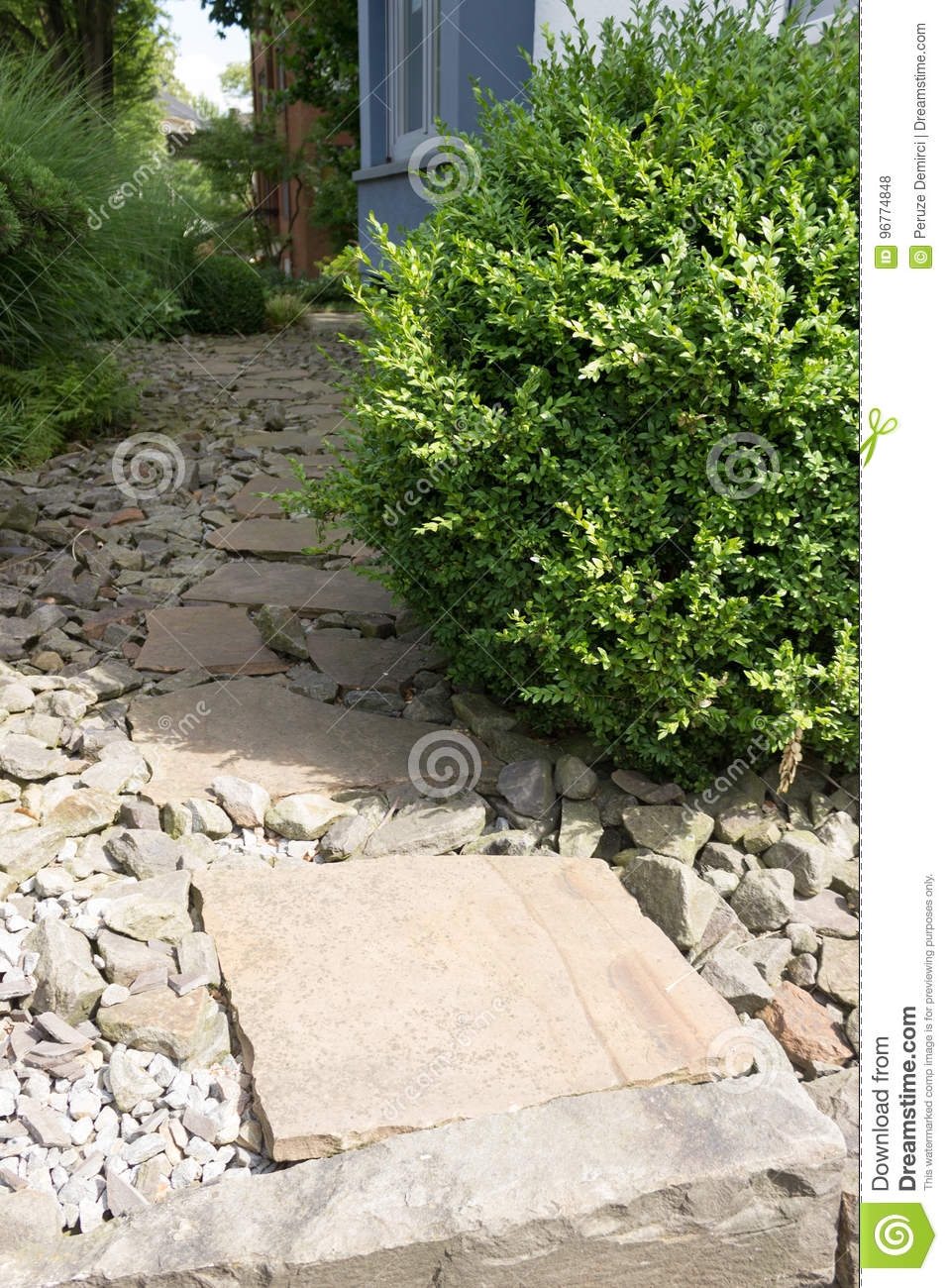 Download Garden Path On Stones With Large Stone Slabs Stock Photo   Image  Of Slab,