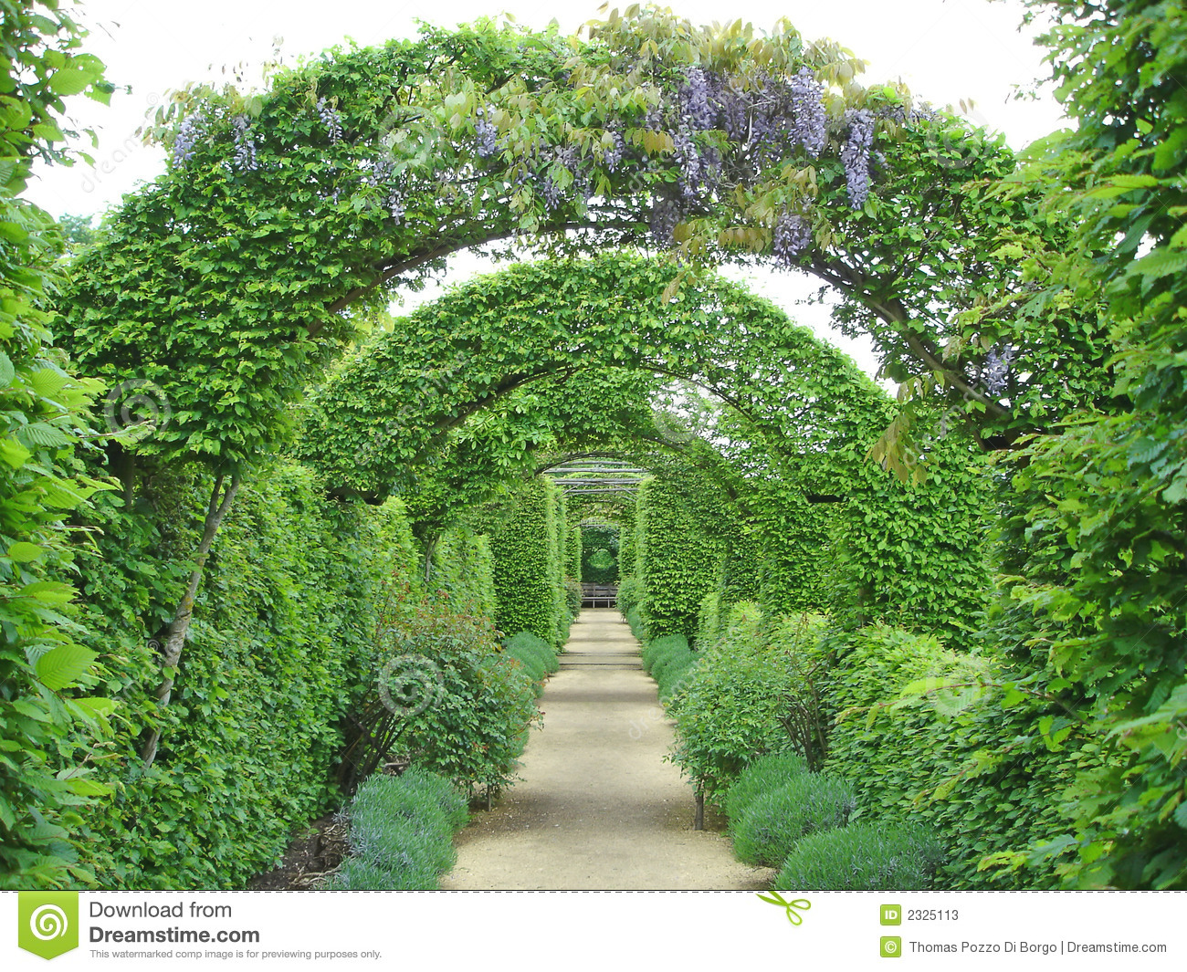 Garden path under flowers arches - Prieure Notre Dame d Orsan - France ...