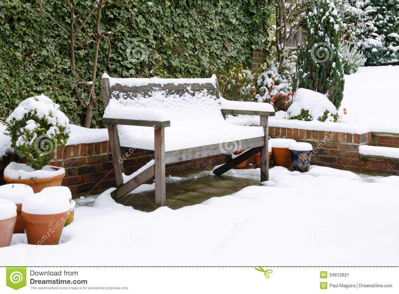 garden patio bench with snow stock image image 34612621
