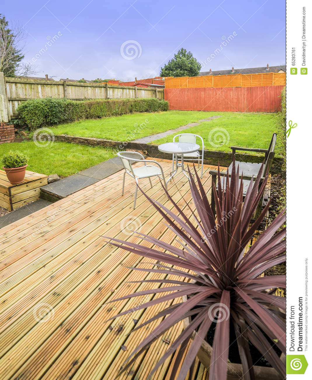 Garden stock photo image 65283761 for Garden decking and grass