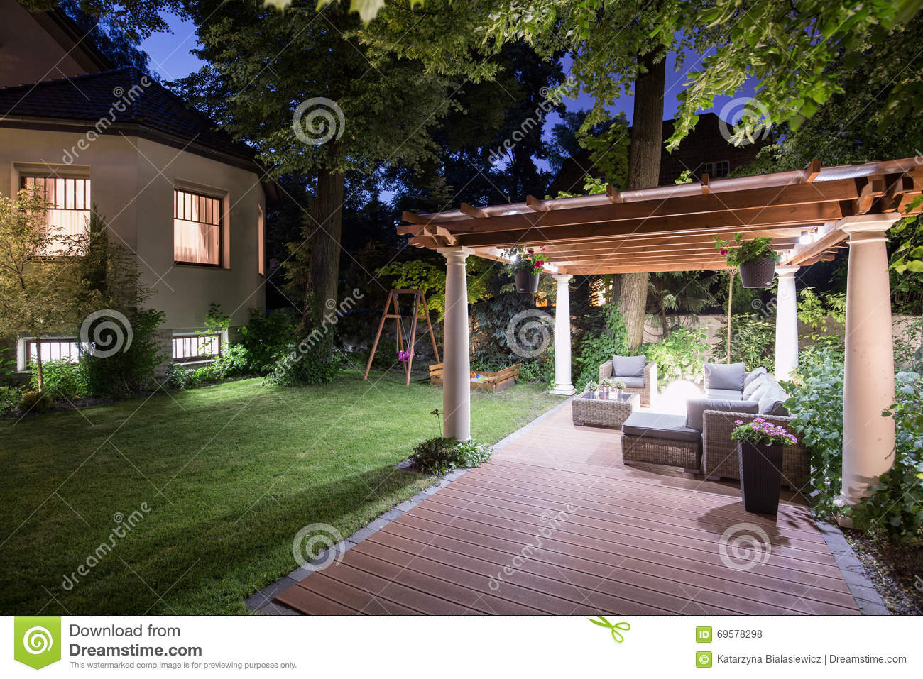 Garden With Patio At Night Stock Photo Image Of Patio