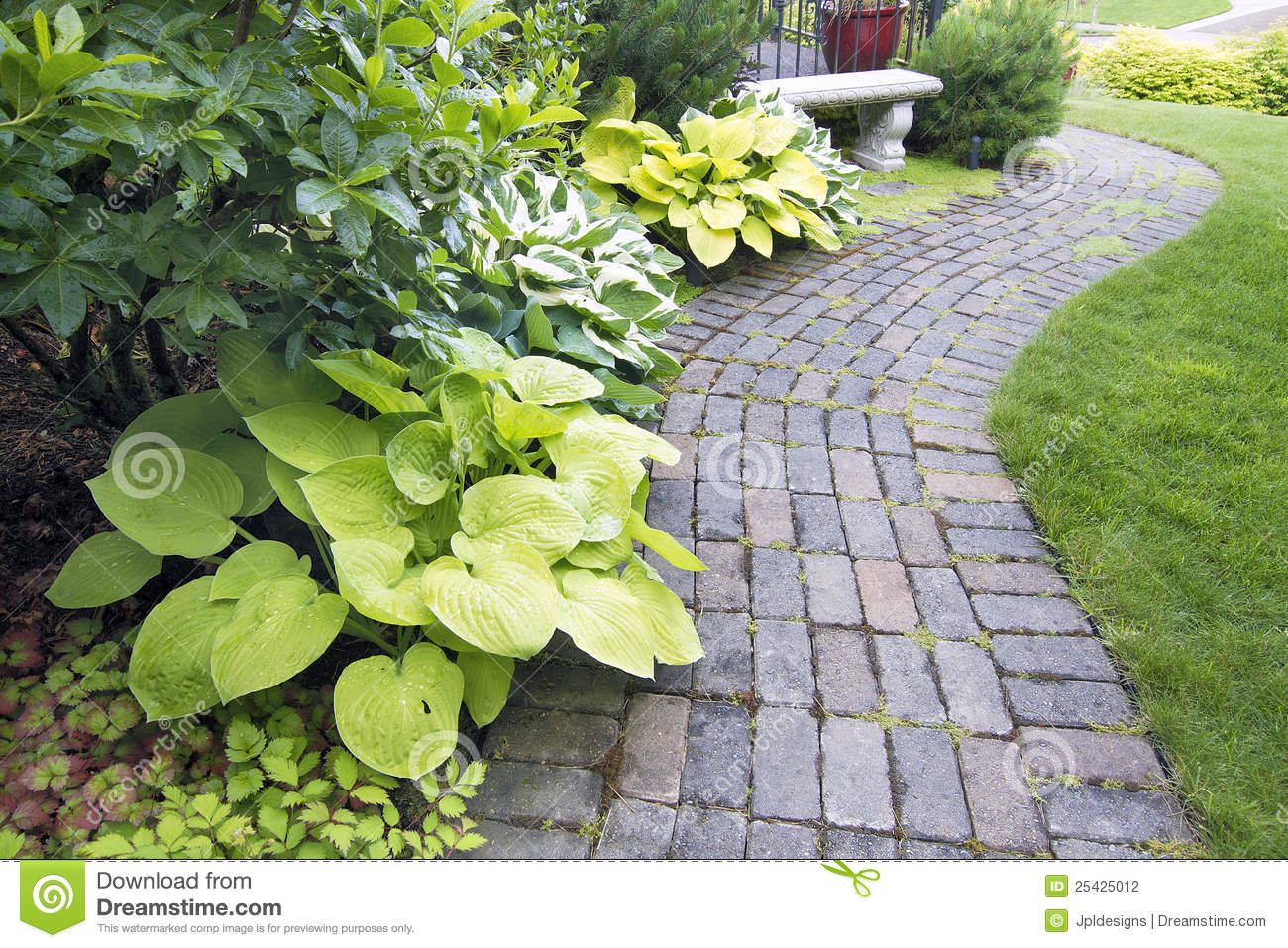Garden Paver Path With Plants And Grass Stock Photography ...