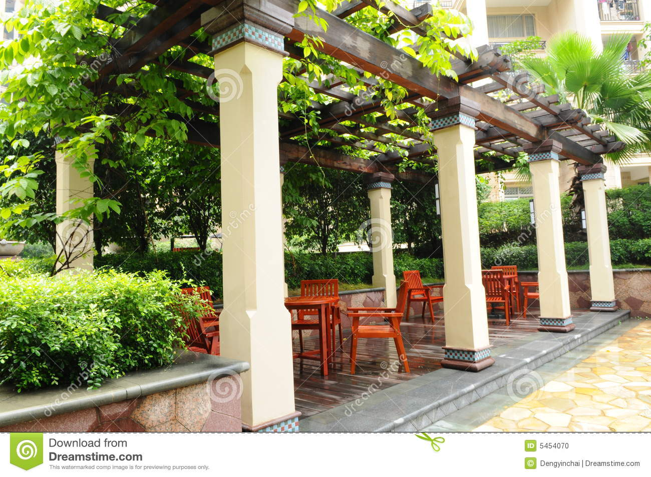 The Garden Pergola Stock Photo Image Of Chairs Wood