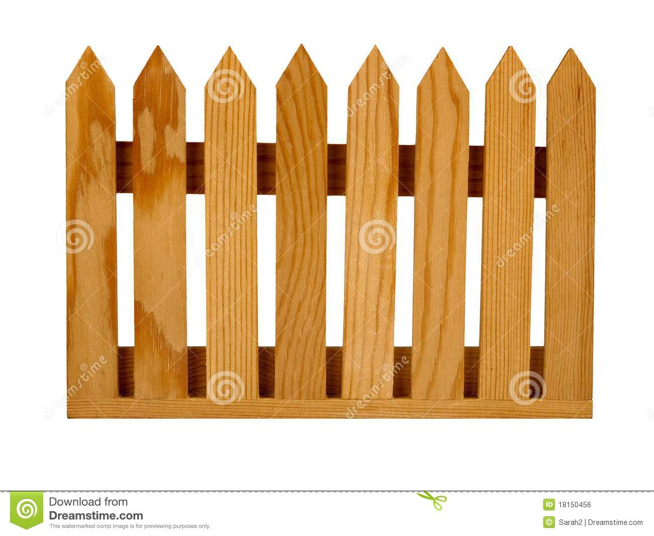 Garden Picket Fence Panel, Isolated Royalty Free Stock