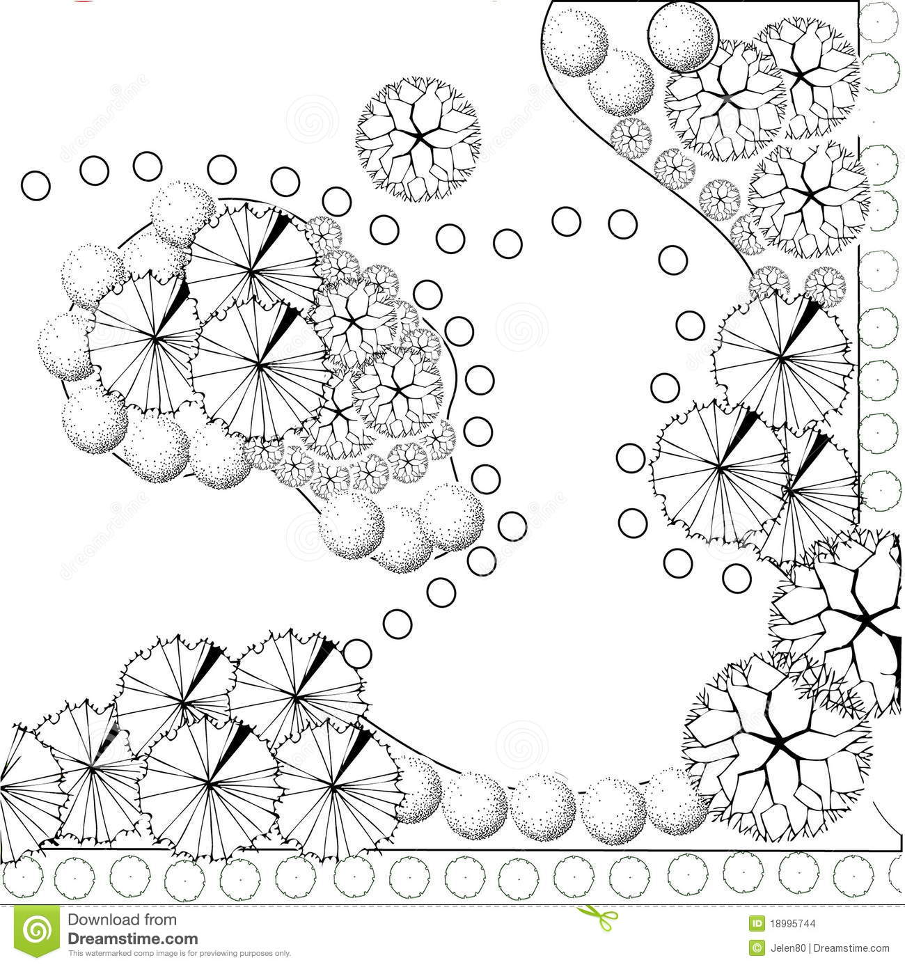 Download Garden Plan Black And White Stock Vector