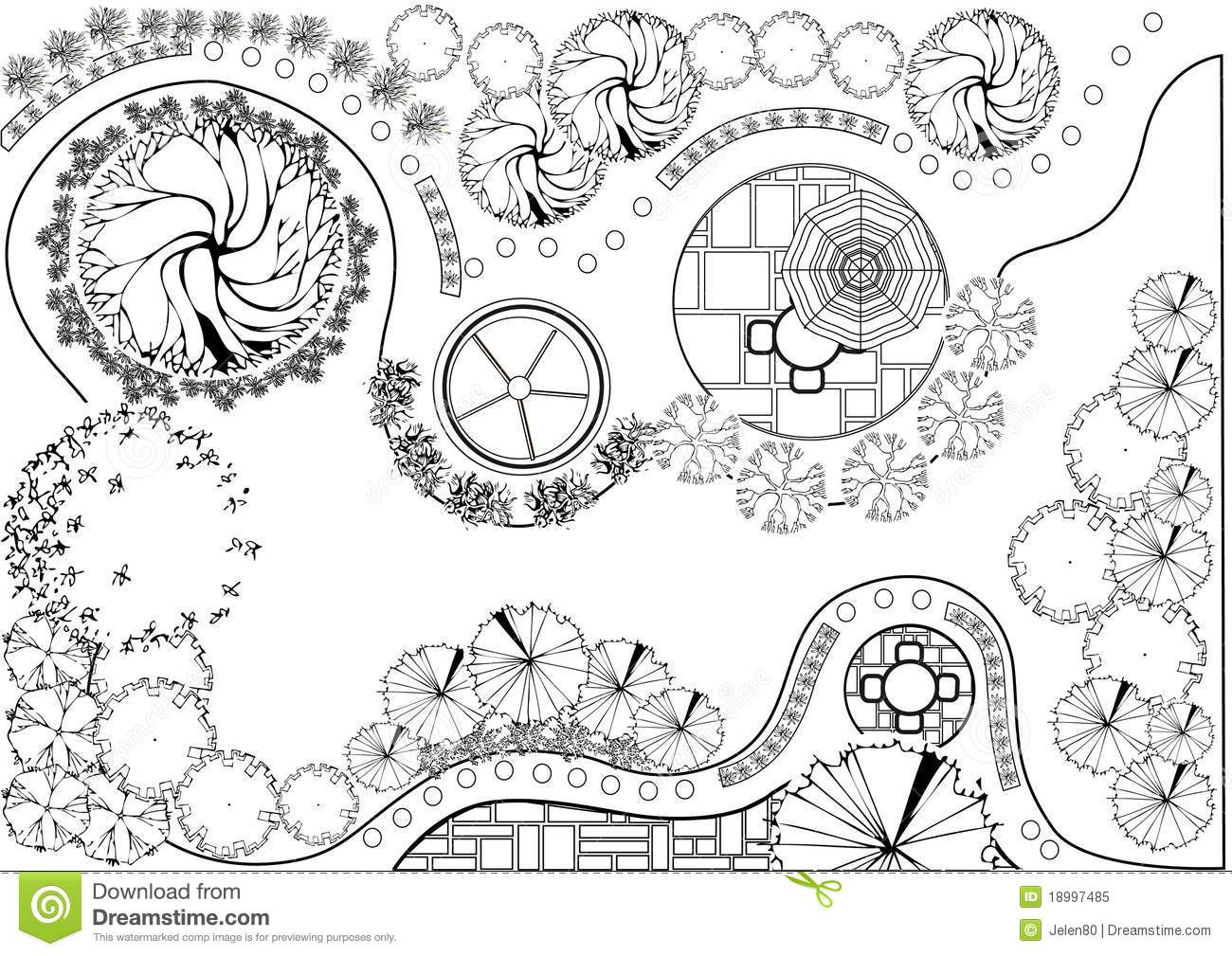 Garden plan black and white stock vector image 18997485 - How to design outdoor lighting plan ...