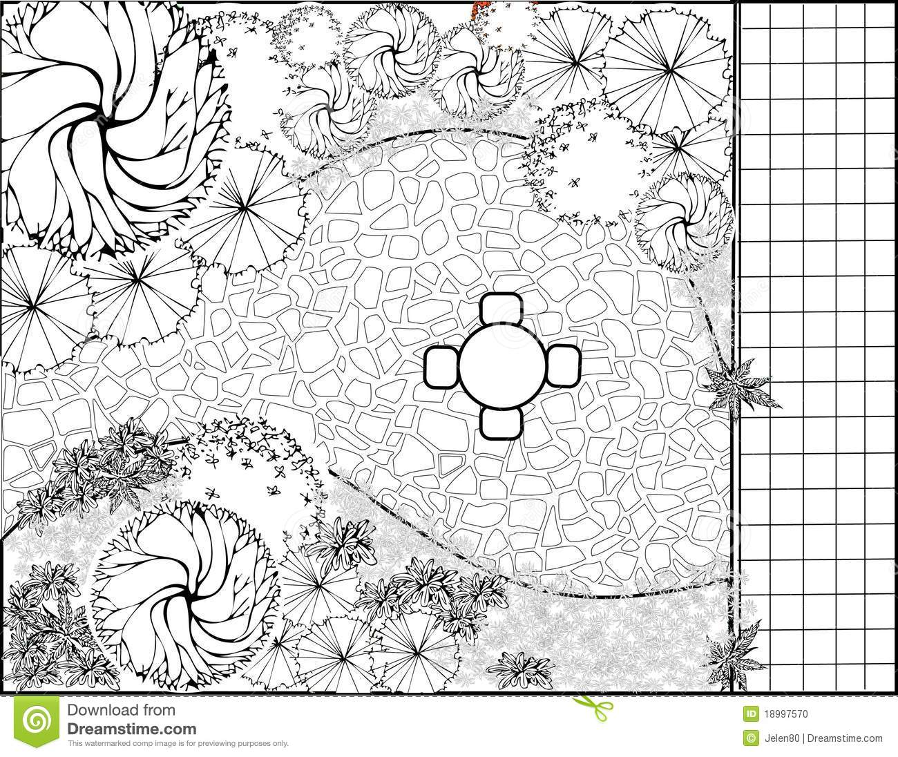 Download Garden Plan Black And White Stock Illustration