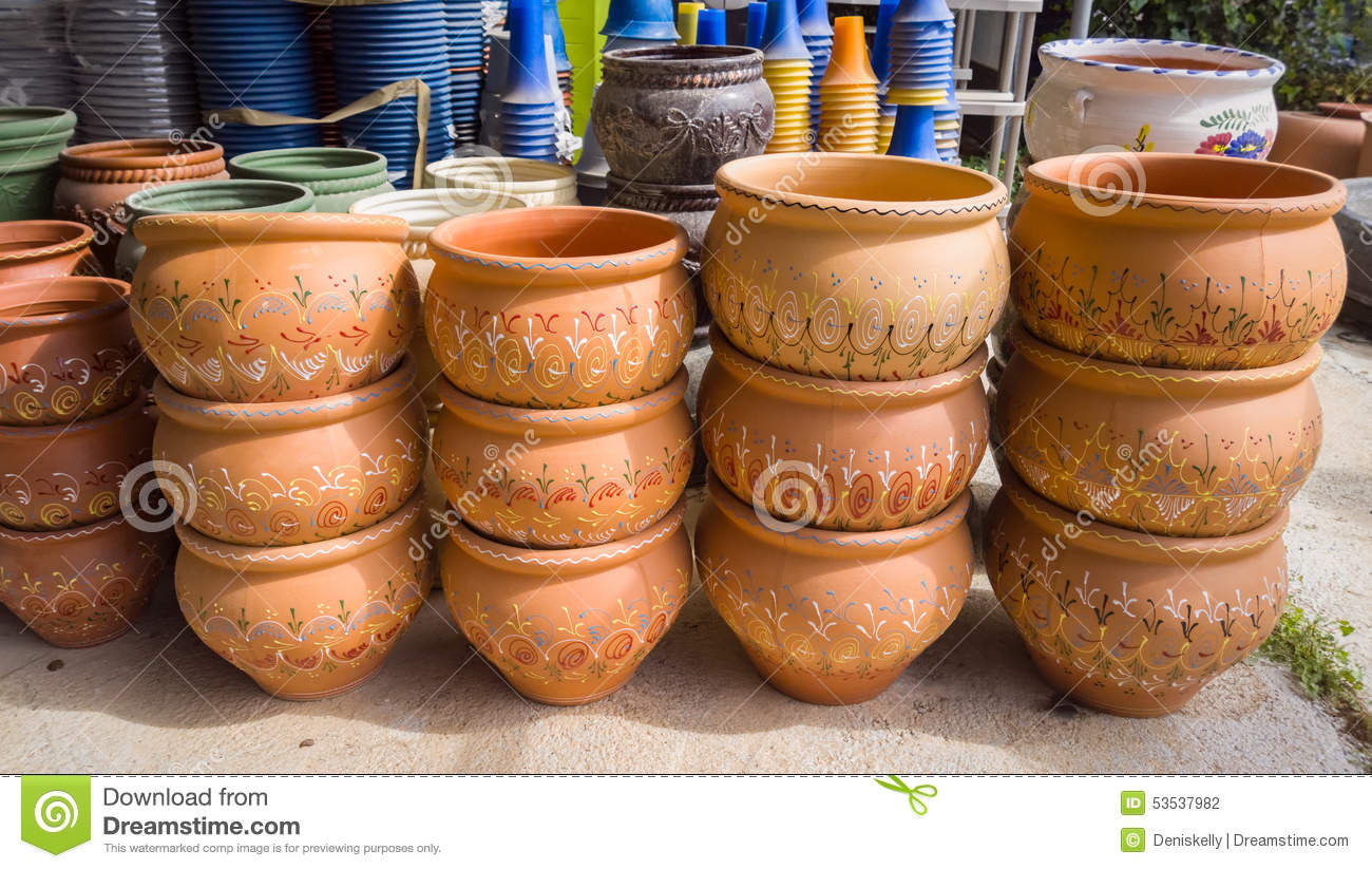 Garden Plant Pots Stock Photo Image 53537982