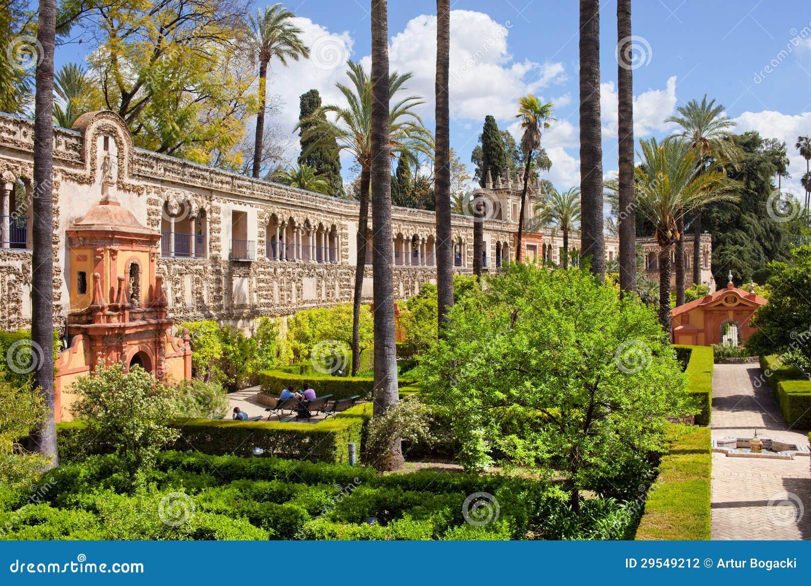 Garden Of The Pond In Real Alcazar Of Seville Stock