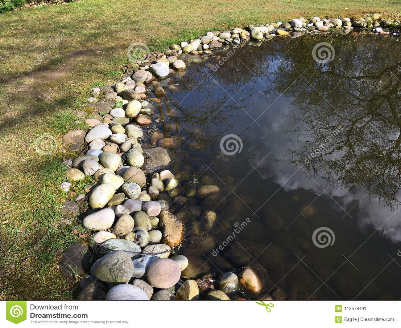 Garden Pond With Stone Edging Stock Image Image Of Semi