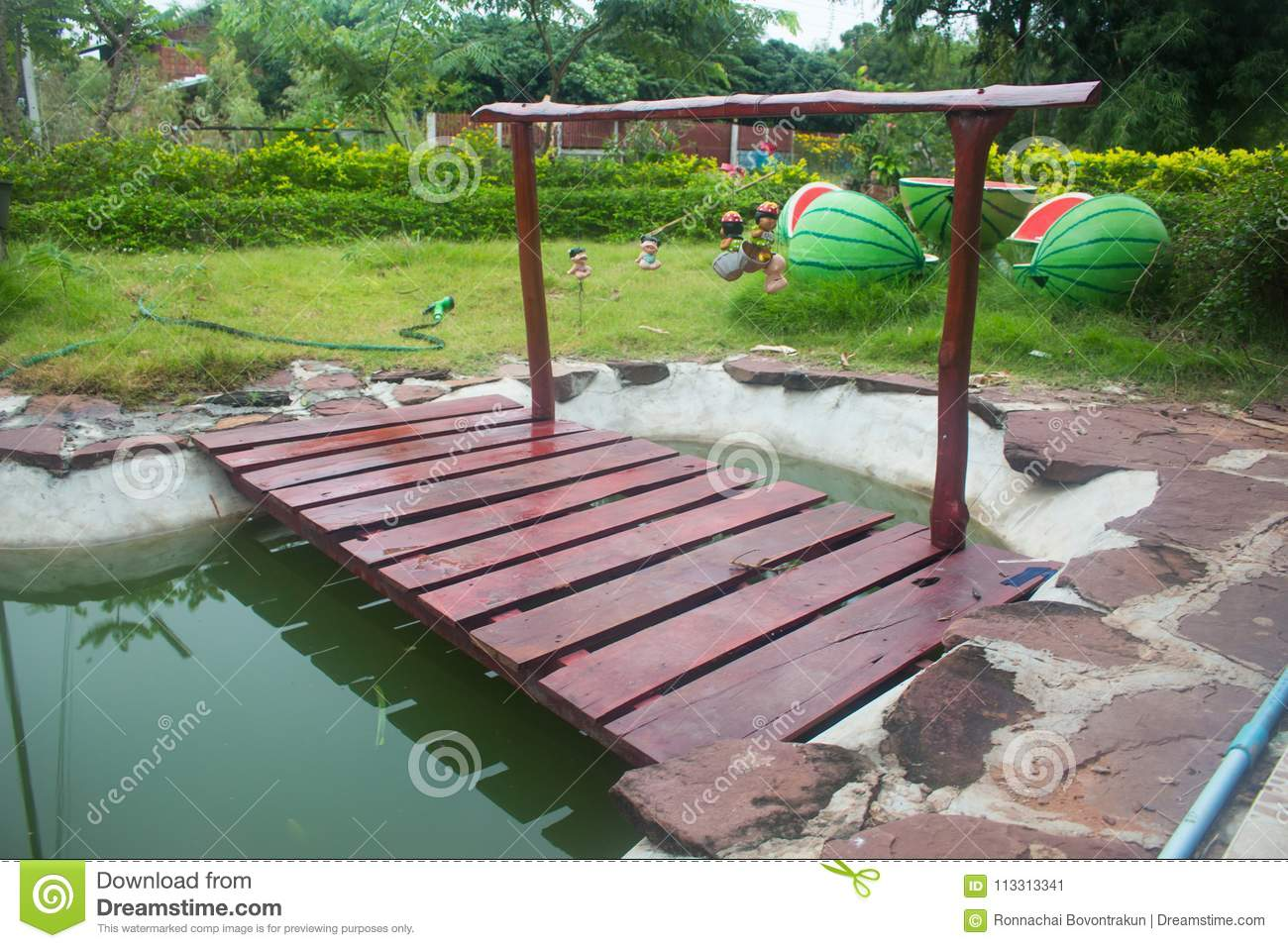 Download Small Garden Pond With Wooden Bridge In Summer Stock Image   Image  Of Design,
