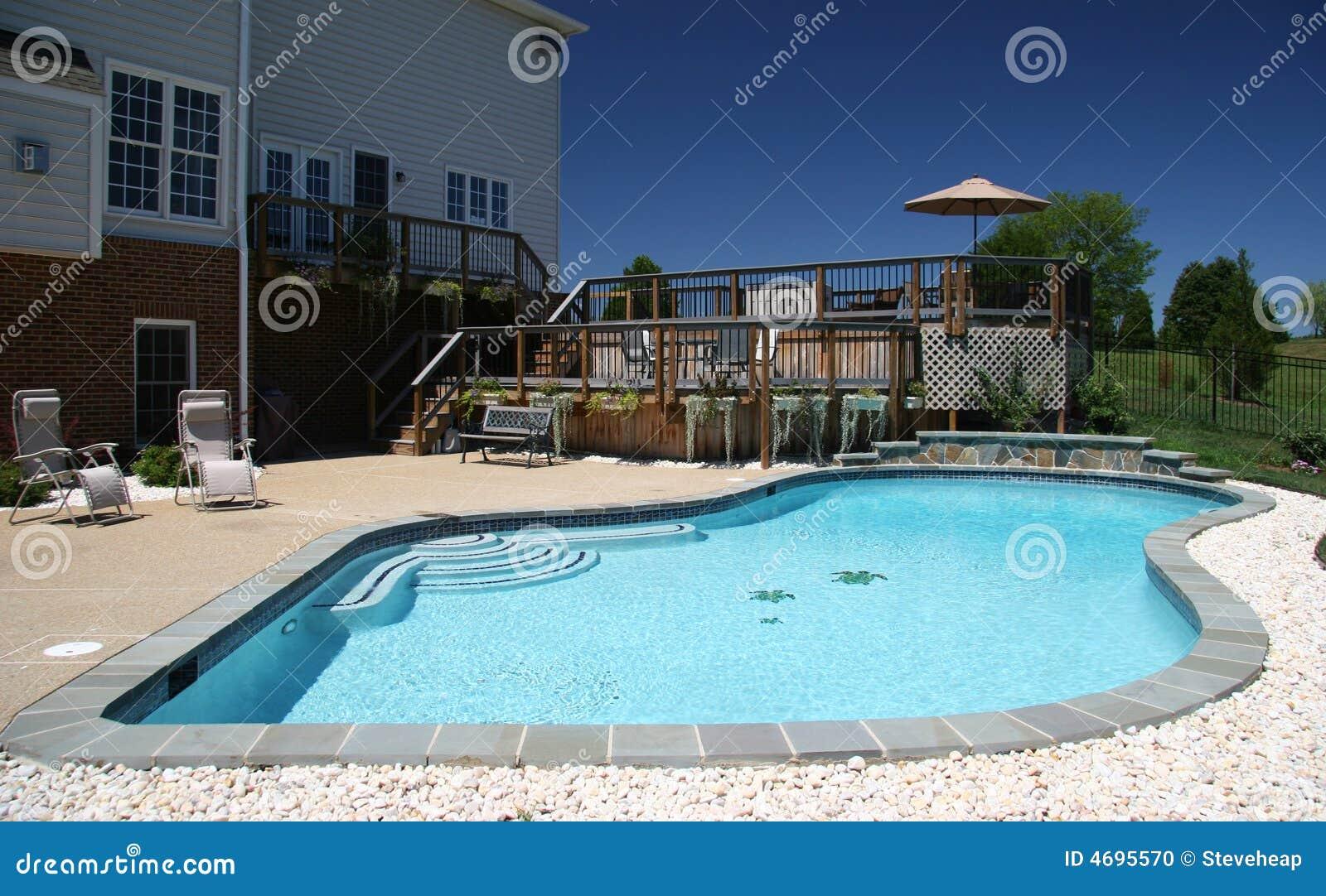 Garden pool in suburbs stock photo image of housing for Garden treasures pool clock