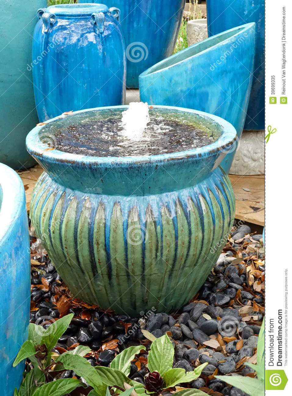 Garden pots and fountain stock image image of drip feature 39699335 workwithnaturefo