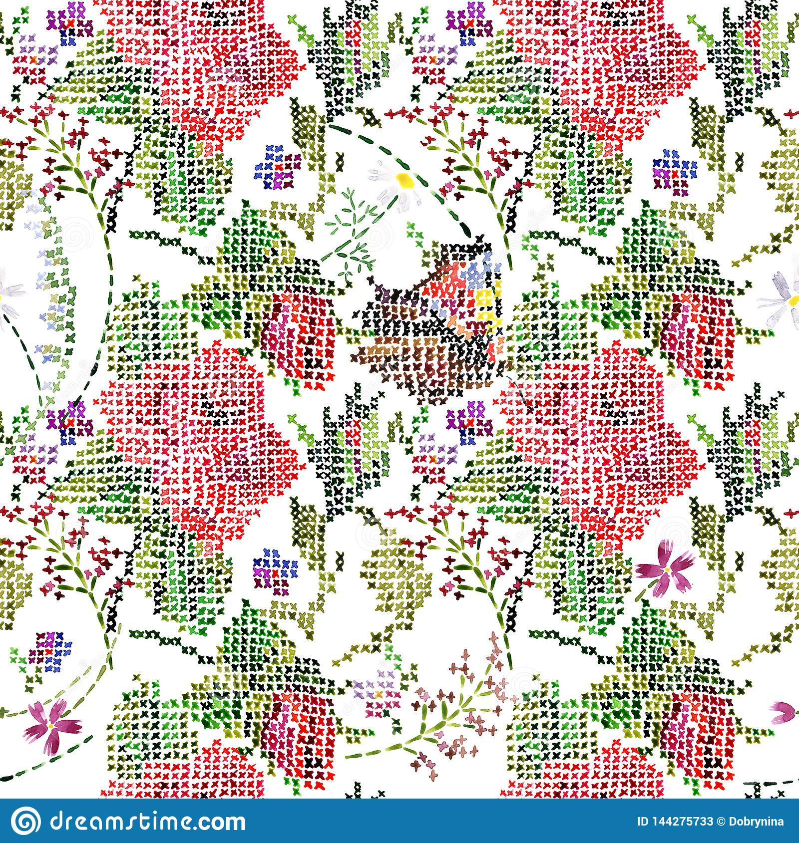 Garden Roses Seamless Background Cross Stitch Floral Pattern