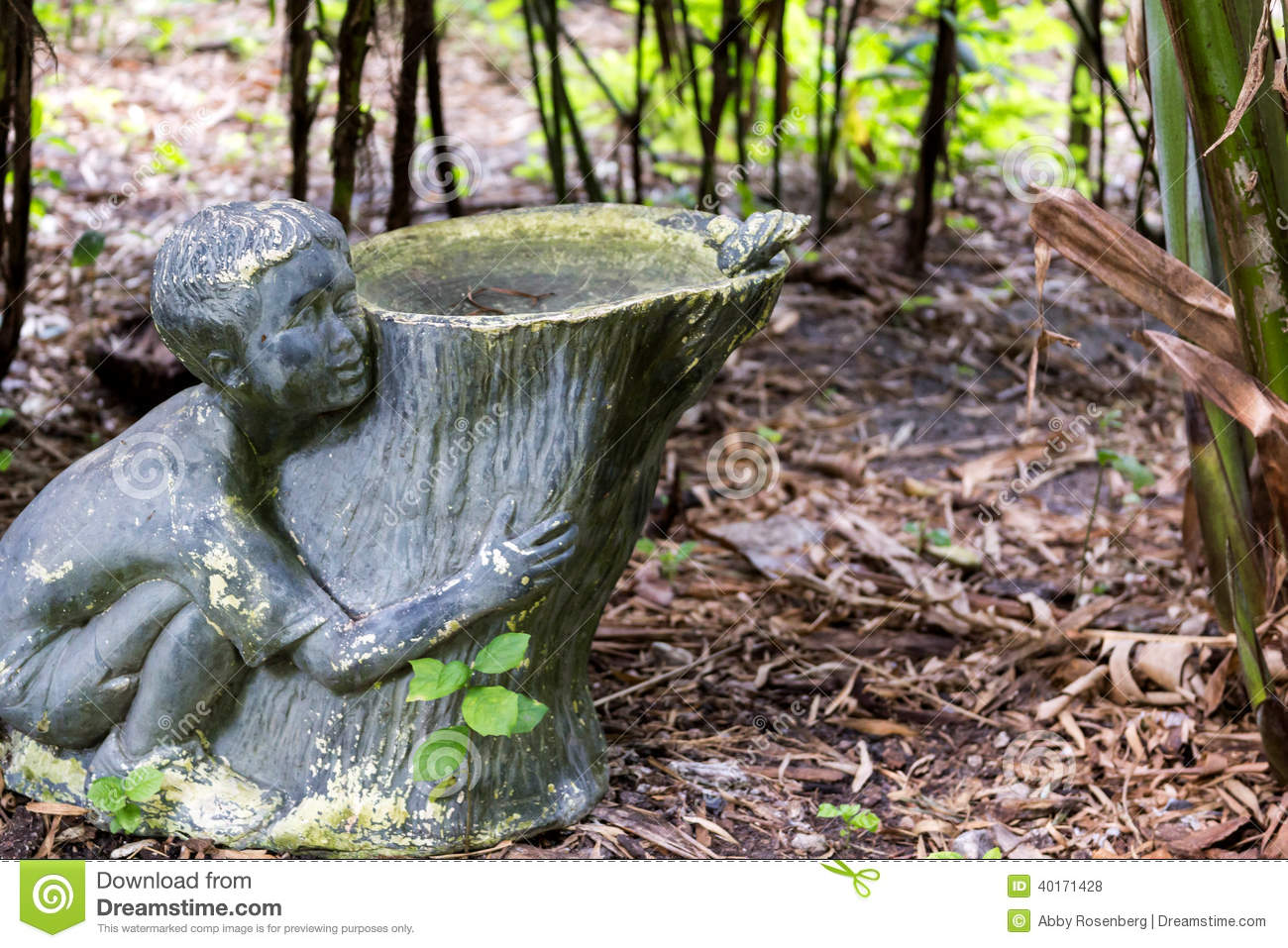 Download Garden Sculpture Birdbath Stock Photo. Image Of Rustic   40171428