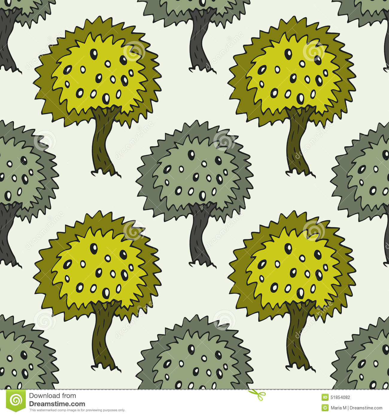 Garden Seamless Pattern With Doodle Olive Tree On Green Background ...