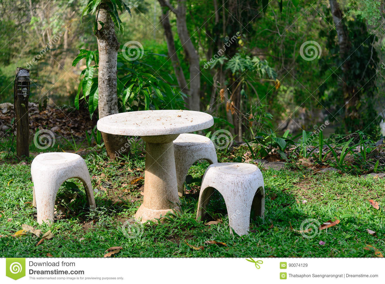 Garden Outdoor Park Seat Stone Table Relax Decoration Bench ...