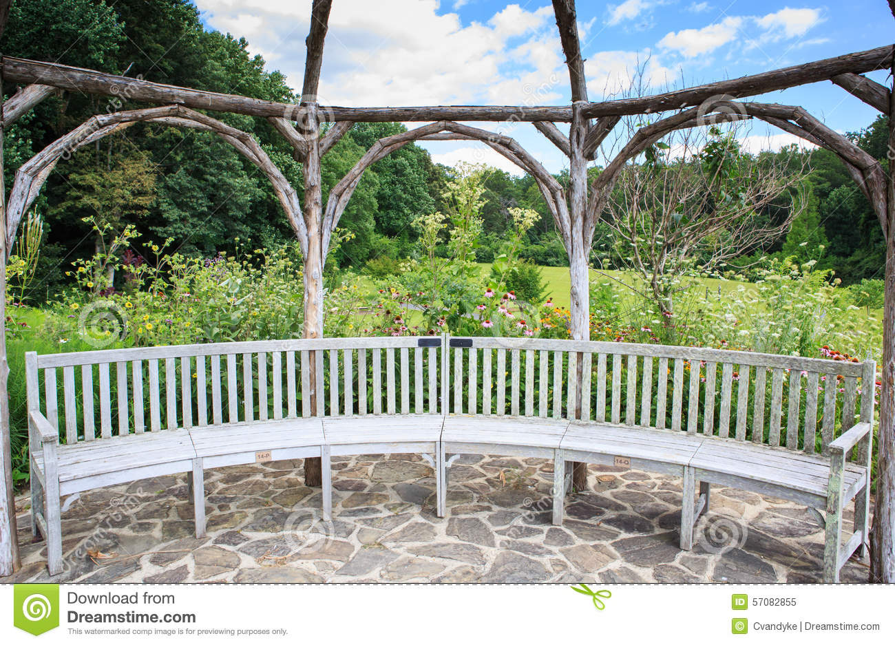 Garden Seating Stone Patio Stock Photo - Image: 57082855
