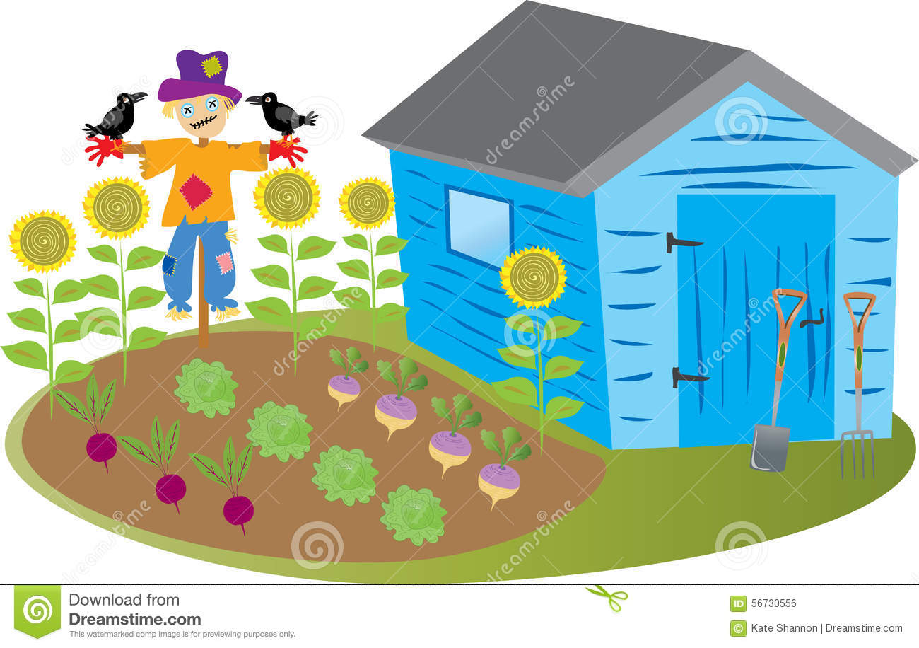 Garden Shed With Scarecrow Stock Vector Illustration Of