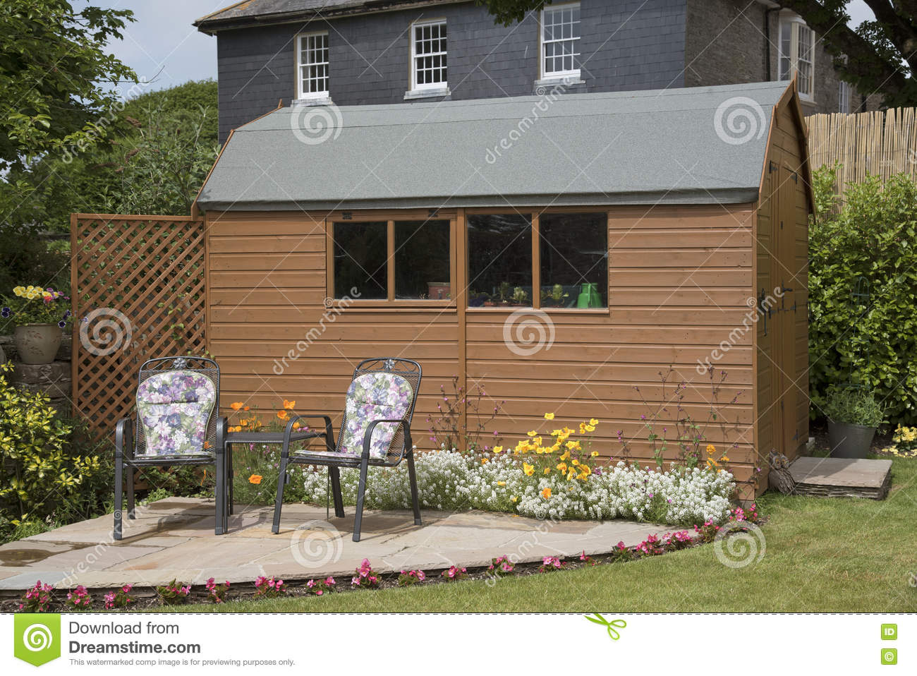 Garden Shed And A Small Patio Stock Photo - Image of landscape ...