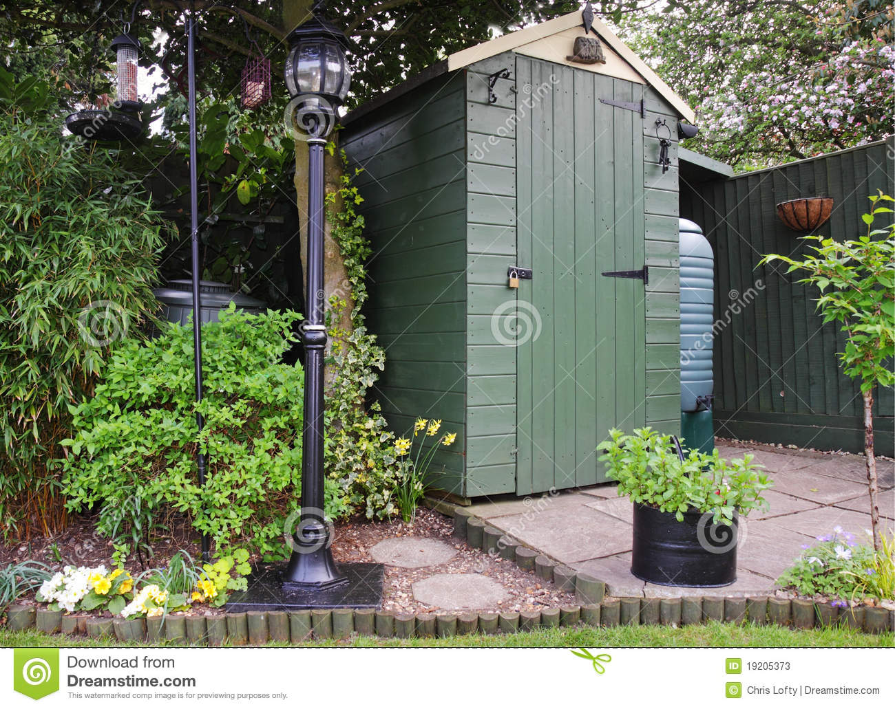 Victorian Backyard Structures : Garden Shed And Victorian Lamp Stock Photos  Image 19205373