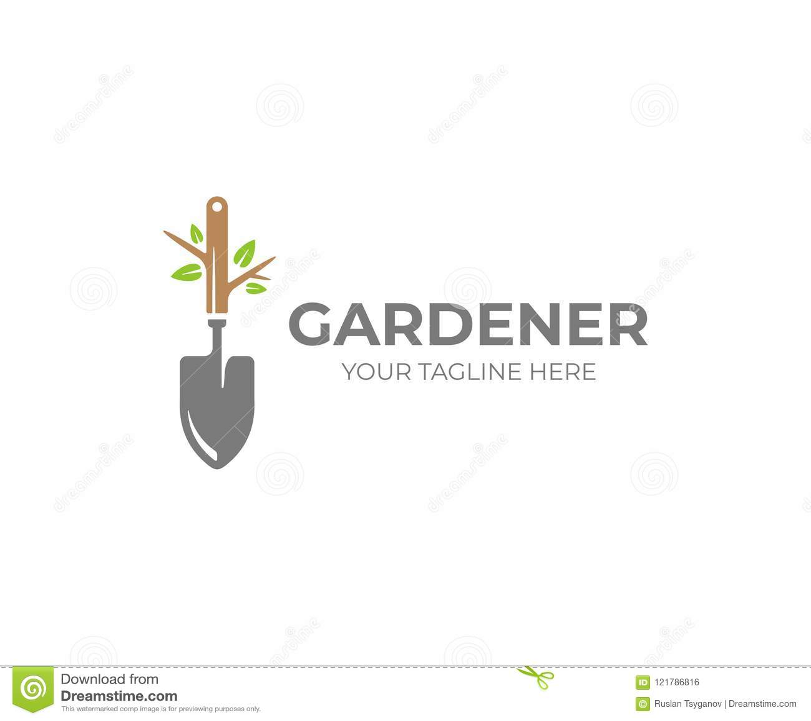 Garden shovel and tree with green leaves logo template. Gardening plant, garden tool vector design