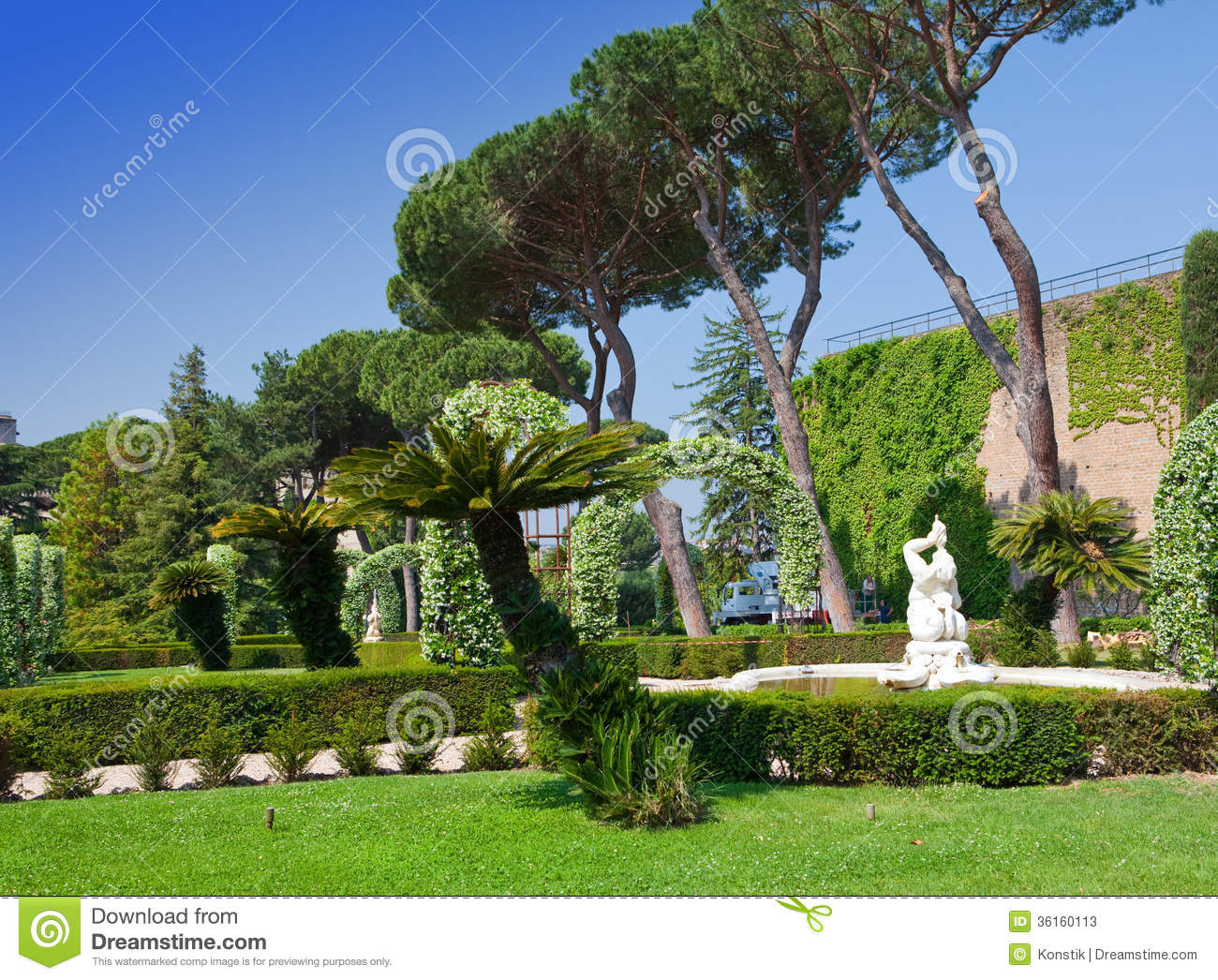 Garden in the state of Vatican in a sunny day