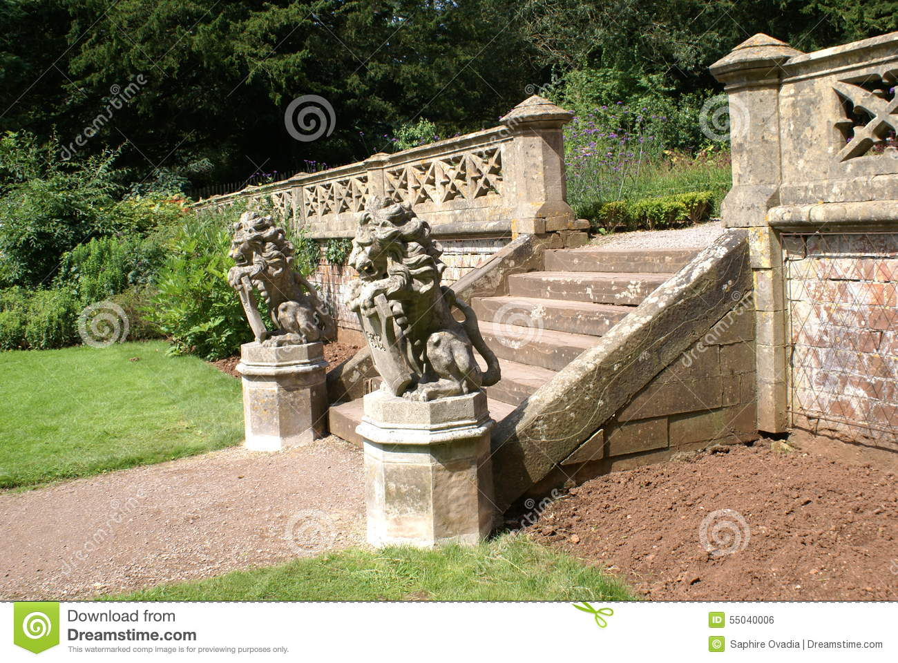 Royalty Free Stock Photo. Download Garden Steps Or Entrance With Lion  Statues ...