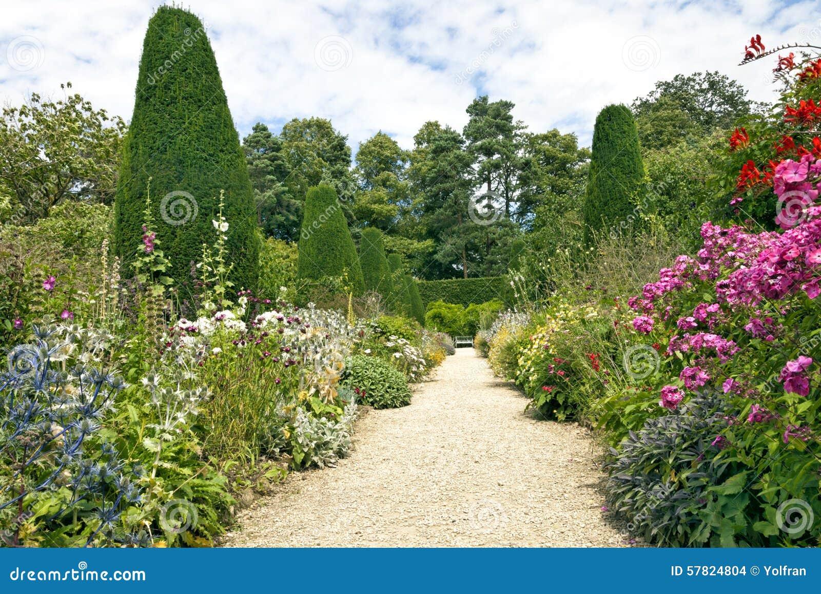 Garden Stone Pathway Summer Flowers In Bloom Conifers