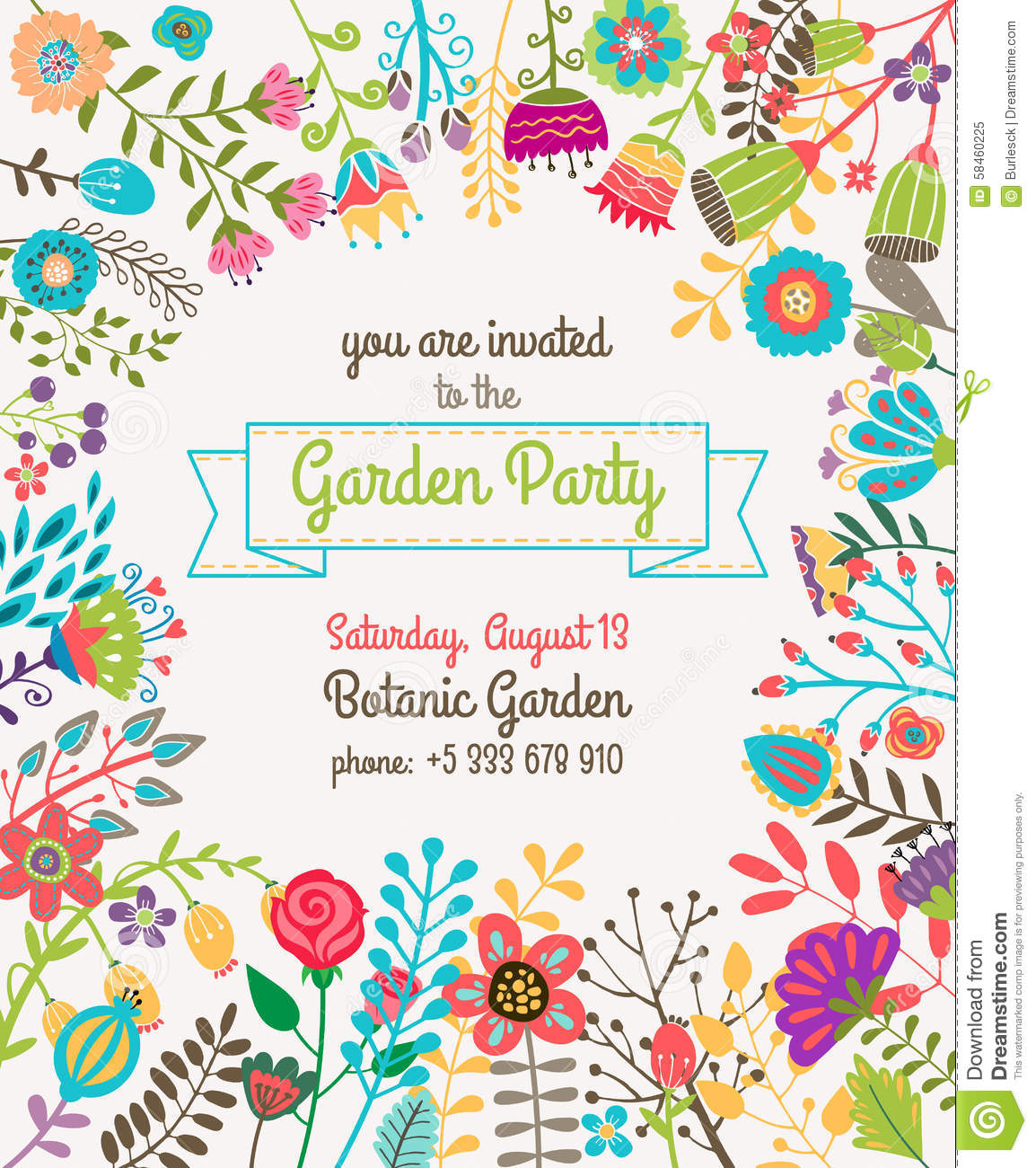 Garden Or Summer Party Invitation Template Poster Stock