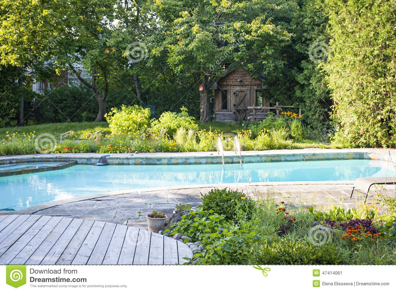 Garden and swimming pool in backyard stock photo image for Landscape gardeners poole