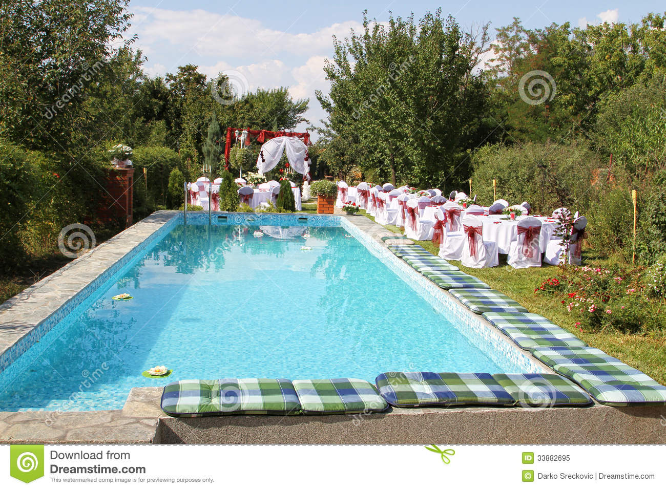 Garden with swimming pool stock image image of romantic for Garden pool wedding