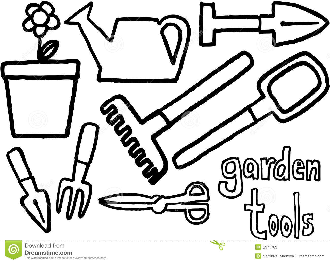 Garden tools stock vector illustration of illustration for Tools coloring page