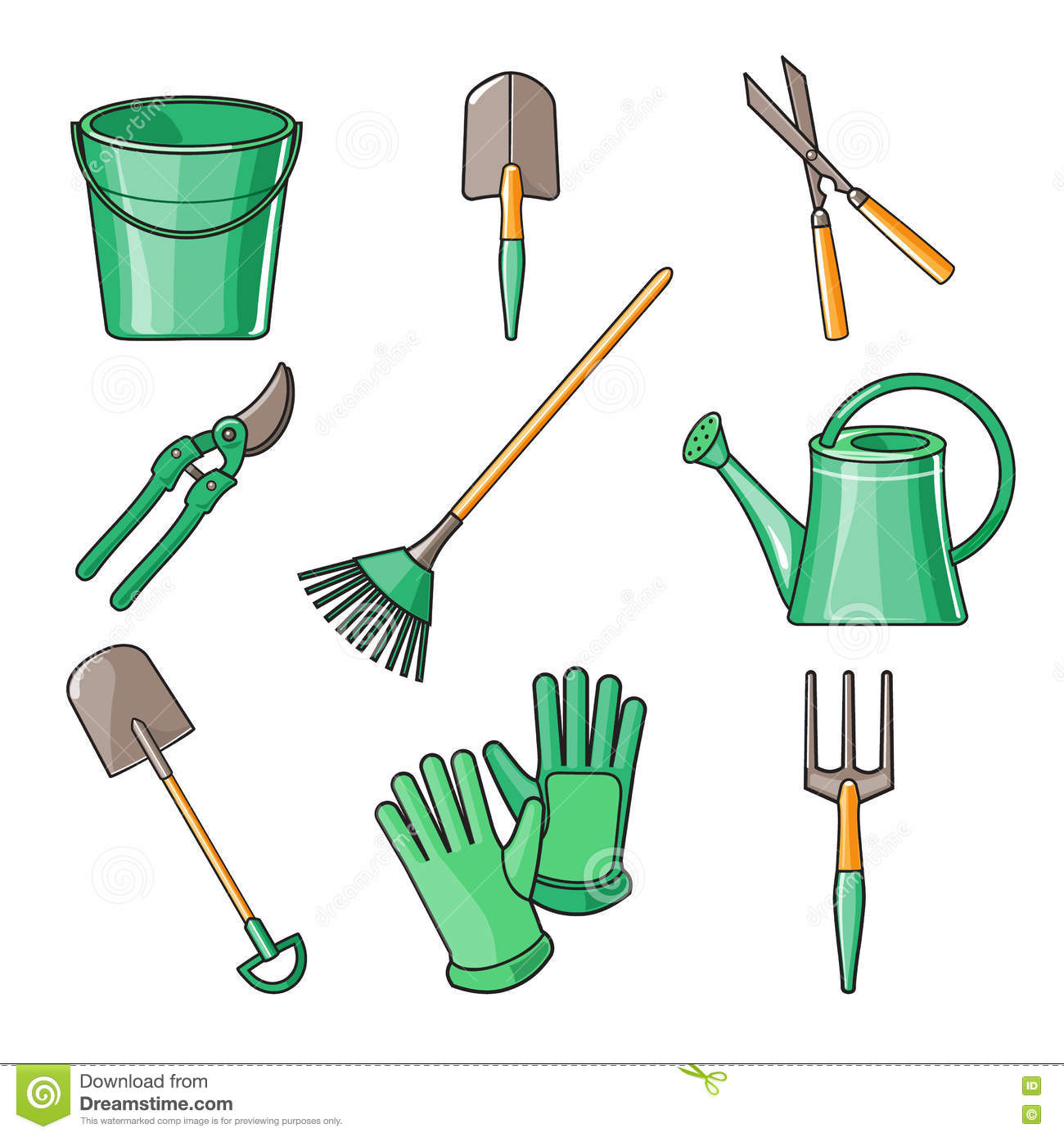 Garden Tools Flat Design Illustration Royalty Free Cartoon