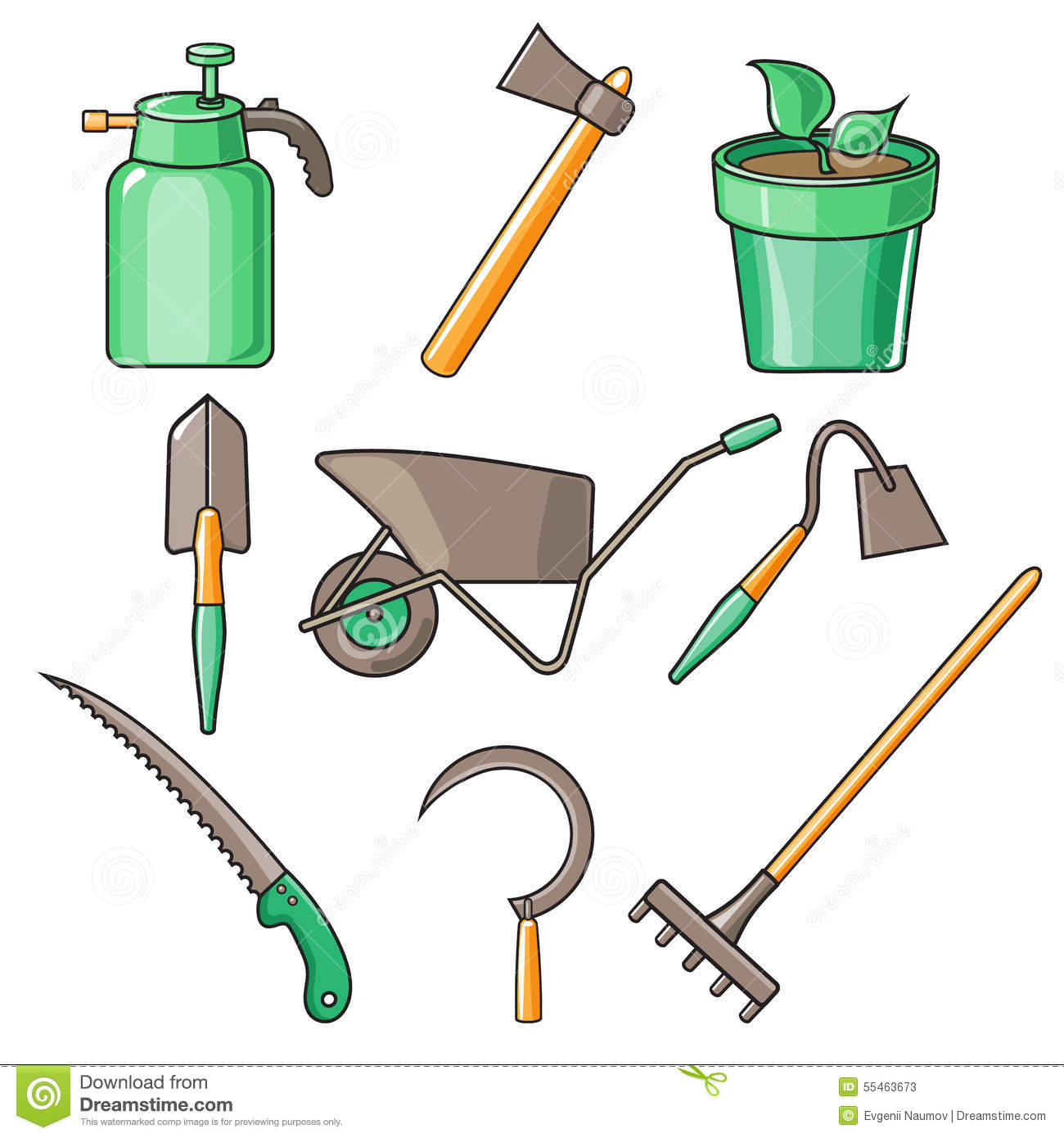 Garden Tools Flat Design Illustration Stock Vector Image 55464171