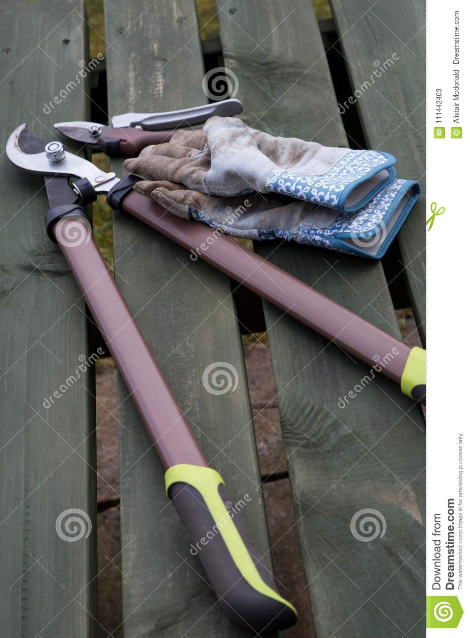 Marvelous Garden Tools And Gloves On A Wooden Bench Stock Image Pdpeps Interior Chair Design Pdpepsorg