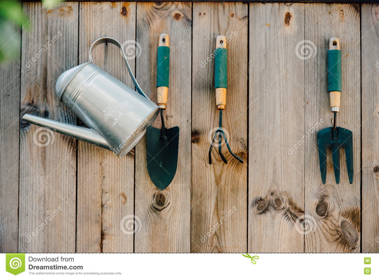Download Garden Tools Hanging And Watering Stock Image   Image Of Equipment,  Copy: 79349759