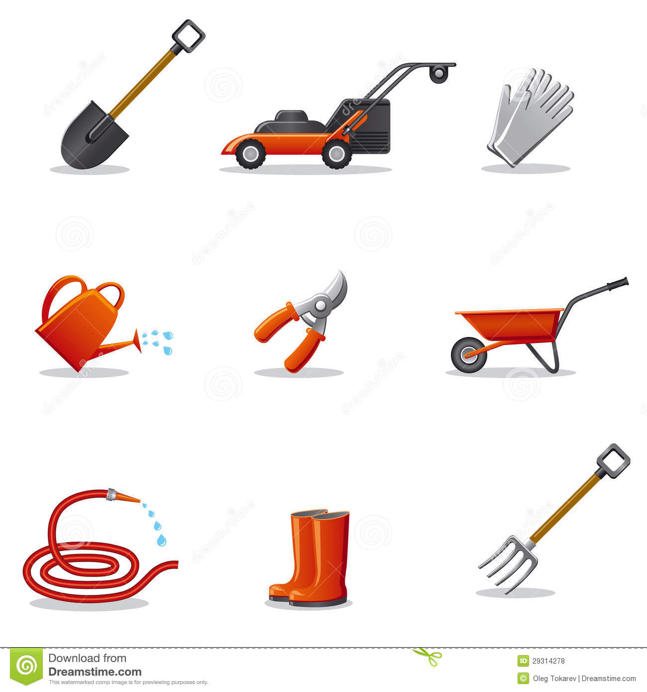 Garden tools icon set royalty free stock photos image for Gardening tools list with pictures