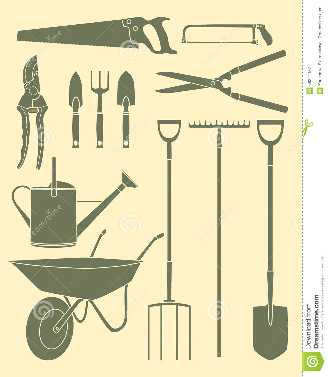 Garden Tools Icon Set Stock Vector Illustration Of Shears 66241137