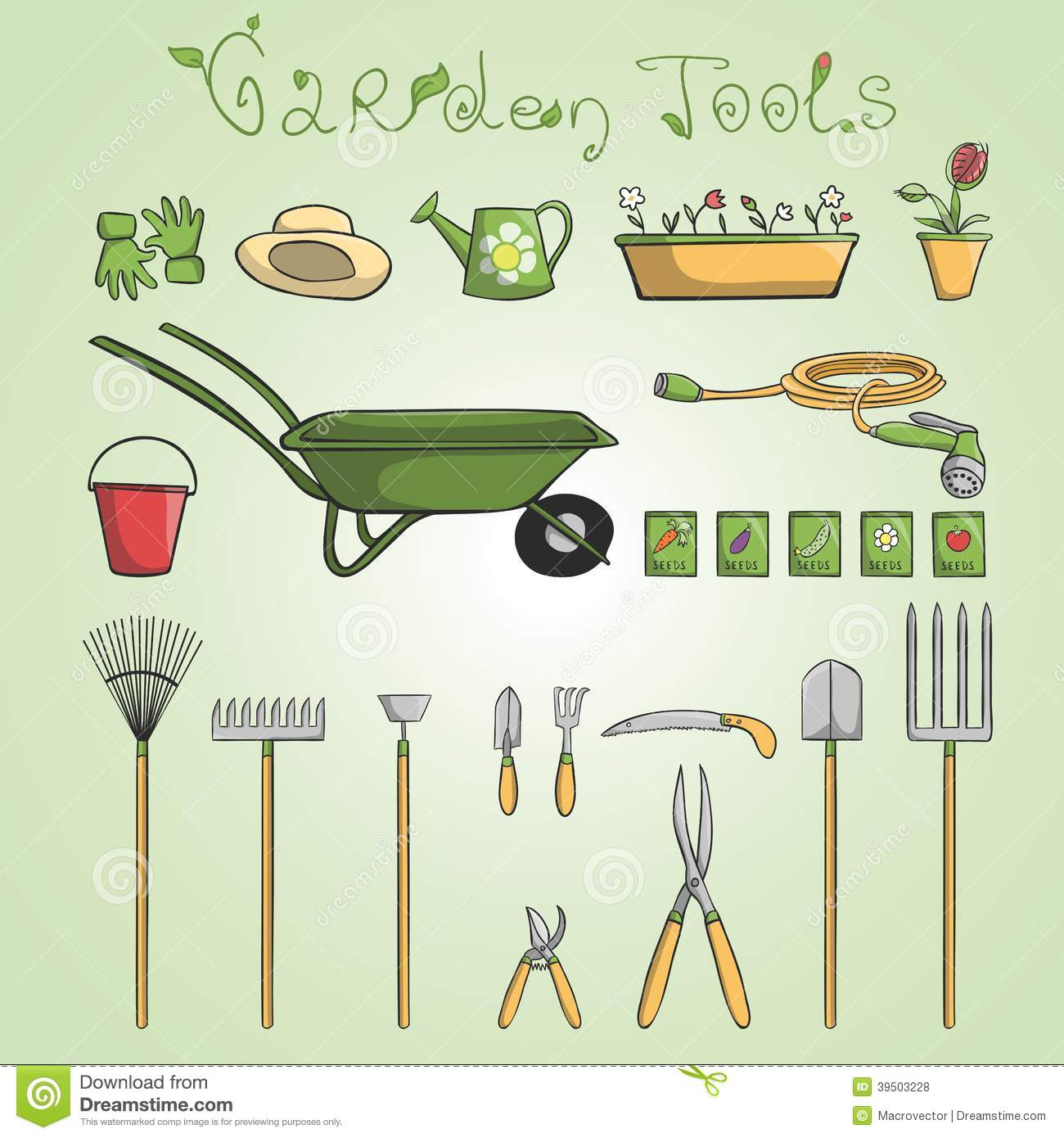 Garden tools icons set stock vector image 39503228 for Gardening tools cartoon