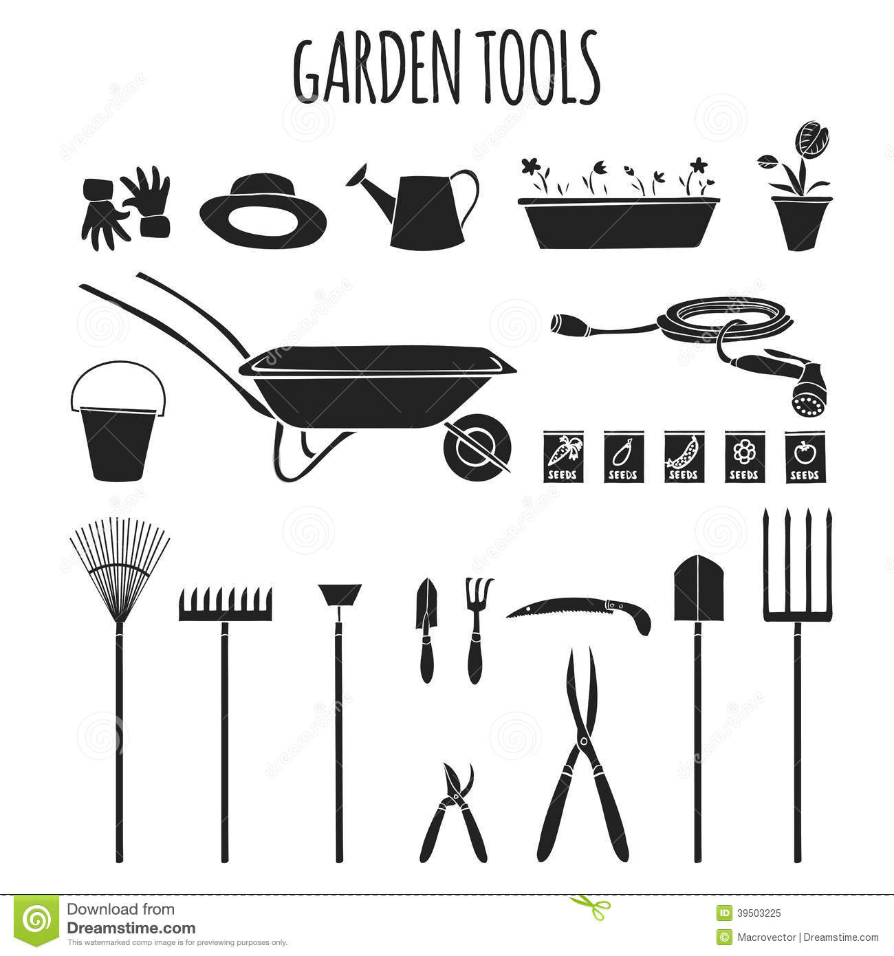 Garden Tools Icons Set Stock Vector Image 39503225